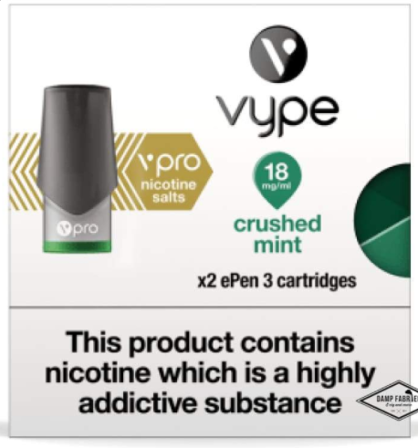 Vype eLiquid Nicotine vPro Salts Crushed Mint - Premium Collection